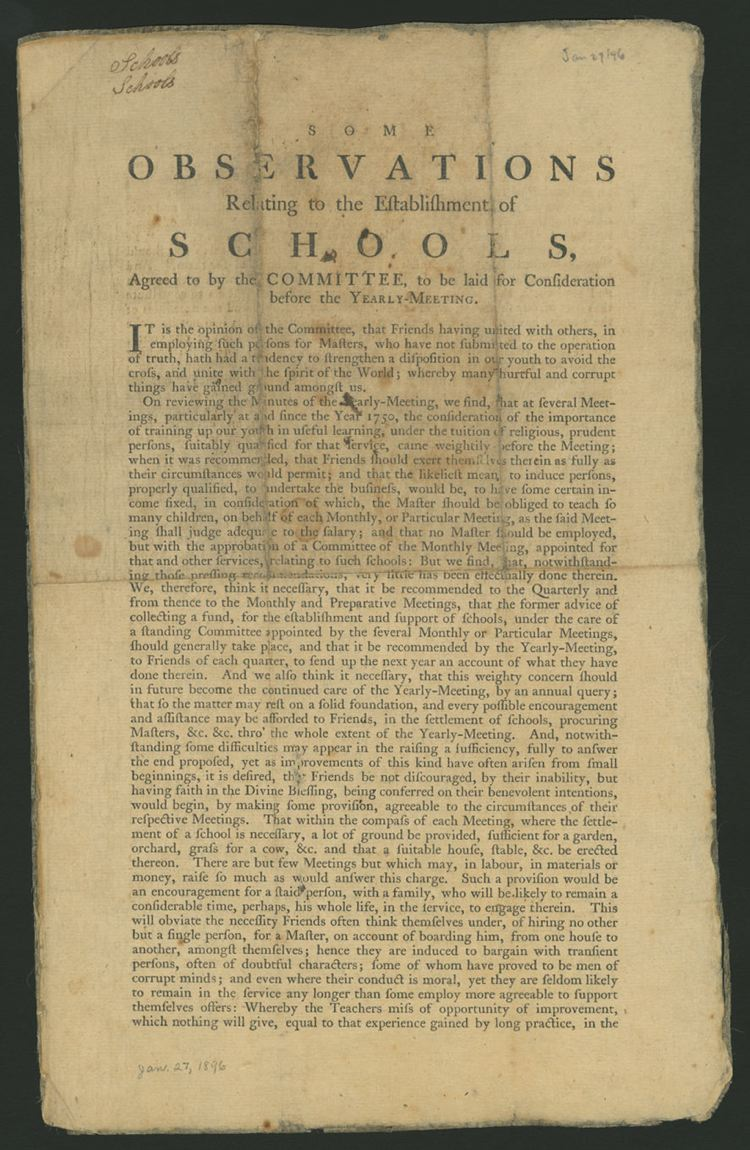 Some observations relating to the establishment of schools, : agreed to by the committee, to be laid for consideration before the Yearly Meeting.